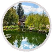 Chinese Garden And Sky Round Beach Towel