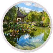Chinese Garden Lake Round Beach Towel
