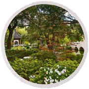 Chinese Garden View Round Beach Towel