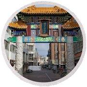 Chinese Gate To The Chinatown  Round Beach Towel