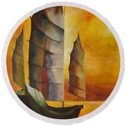 Chinese Junk In Ochre Round Beach Towel by Tracey Harrington-Simpson