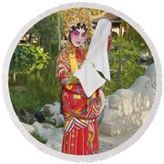 Chinese Opera Girl - In Full Traditional Chinese Opera Costumes. Round Beach Towel