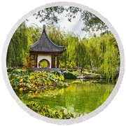 Chinese Pagoda Round Beach Towel
