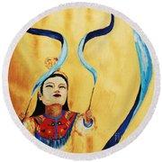 Chinese Ribbon Dancer  Blue Ribbon Round Beach Towel