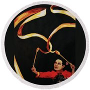 Chinese Ribbon Dancer Yellow Ribbon Round Beach Towel
