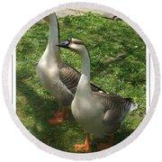 Chinese Swan Goose Pair 2 Round Beach Towel