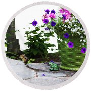 Chipmunk And Flowers Round Beach Towel