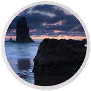 Chiseled By The Sea Round Beach Towel
