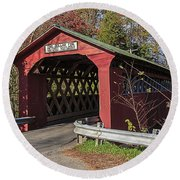 Chiselville Covered Bridge Round Beach Towel by Edward Fielding