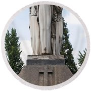 Chisletti Bonelli Memorial Front View Monumental Cemetery Milan Round Beach Towel