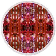 Chive Abstract Red Round Beach Towel