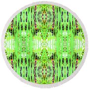 Chive Abstract Green Round Beach Towel