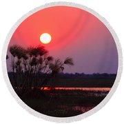 Chobe River Sunset Round Beach Towel