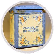 Chocolat En Poudre Round Beach Towel