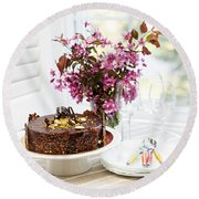 Chocolate Cake With Flowers Round Beach Towel