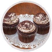 Chocolate Caramel Cupcakes Round Beach Towel