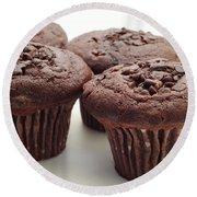 Chocolate Chocolate Chip Muffins - Bakery - Breakfast Round Beach Towel