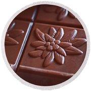 Chocolate Flower  Round Beach Towel