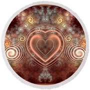Chocolate Heart Round Beach Towel