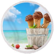 Chocolate Icecreams Round Beach Towel