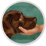 Chocolate Lab Head In Hand Round Beach Towel
