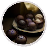 Chocolate Pralines Round Beach Towel