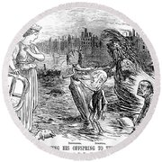 Cholera Cartoon, 1858 Round Beach Towel