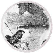 Cholera Cartoon, 1883 Round Beach Towel