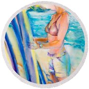 Choose Well Wahine Round Beach Towel