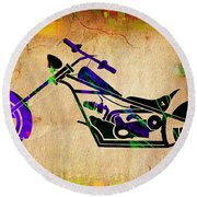 Chopper Motorcycle Painting Round Beach Towel