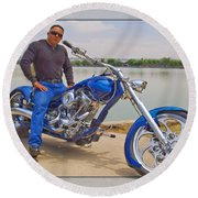 Chopper Motorcycle Round Beach Towel