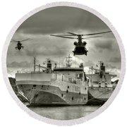 Choppers N Ships  Round Beach Towel