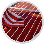 Chris Craft With American Flag Round Beach Towel