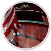 Chris Craft With Flag And Steering Wheel Round Beach Towel by Michelle Calkins
