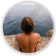 Chris Sharma Relaxing And Meditating Round Beach Towel