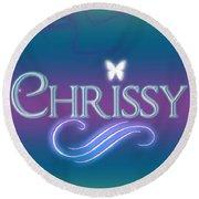 Chrissy Name Art Round Beach Towel