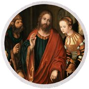 Christ And The Adulteress Round Beach Towel