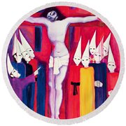Christ And The Politicians Round Beach Towel
