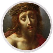Christ As The Man Of Sorrows Round Beach Towel by Carlo Dolci