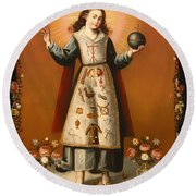 Christ Child With Passion Symbols Round Beach Towel