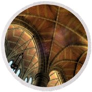 Christ Church Cathedral Roof Detail Round Beach Towel