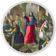 Christ Cleanses The Temple Round Beach Towel