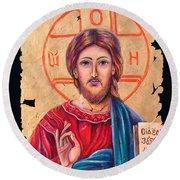 Christ Icon Fresco Round Beach Towel