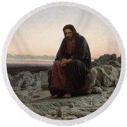 Christ In The Wilderness Round Beach Towel