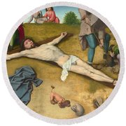 Christ Nailed To The Cross Round Beach Towel