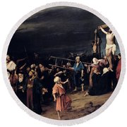 Christ On The Cross Round Beach Towel by Mihaly Munkacsy