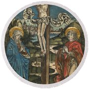 Christ On The Cross With Mary And Saint John Round Beach Towel by German School
