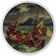 Christ On The Sea Of Galilee Round Beach Towel by Delacroix