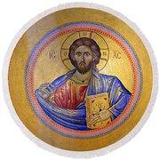 Christ Pantocrator -- No.4 Round Beach Towel