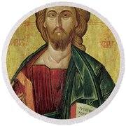 Christ Pantocrator Round Beach Towel